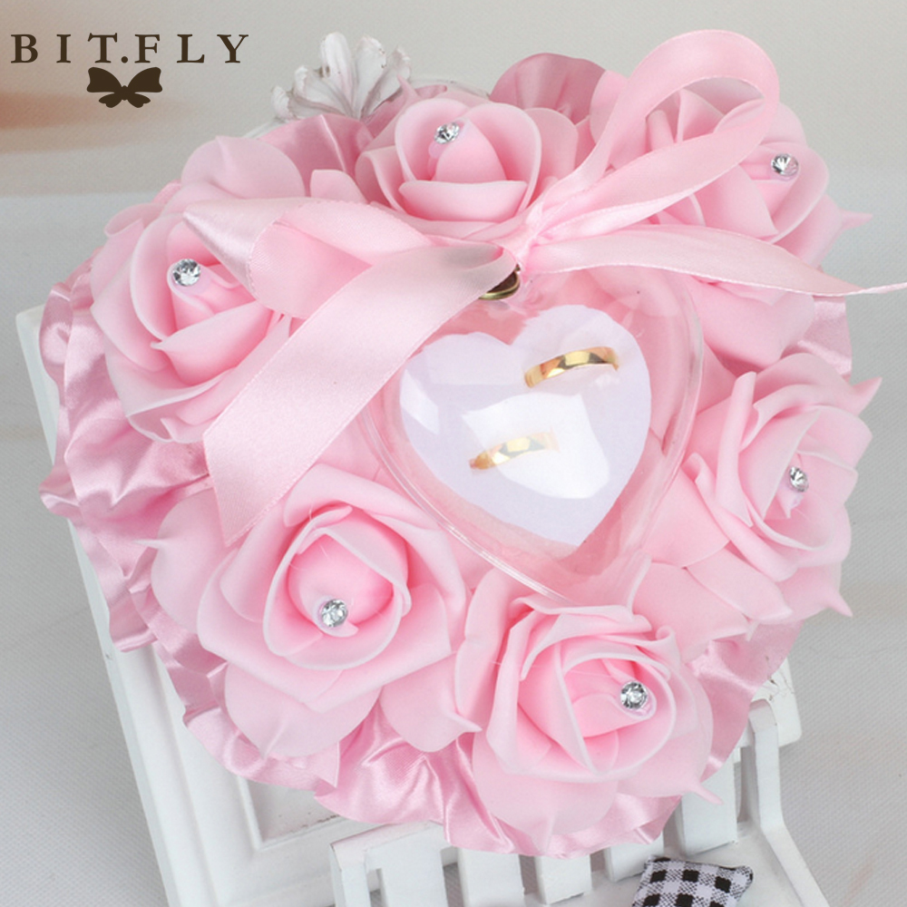 Heart Design Elegant Rose Flowers Wedding Ring Pillow Cushion with ...