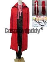 Черный Bulter shinigam Грелль Сатклифф карнавальный костюм полный набор парик + Очки
