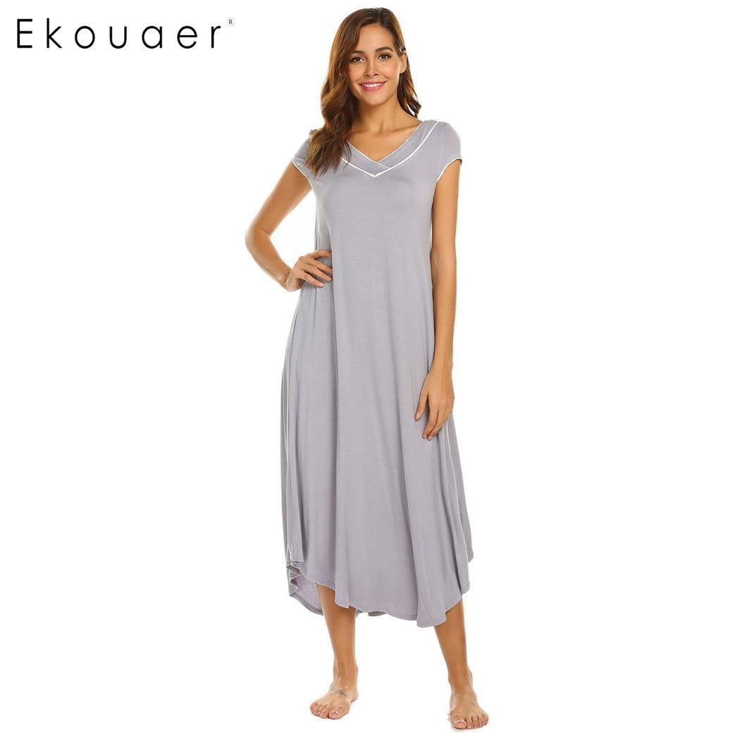 Ekouaer Women Long Vintage Nightgown Sleepshirts Casual Solid V-Neck Short Sleeve Loose Nightdress Sleep Dress Lady Home Cloth