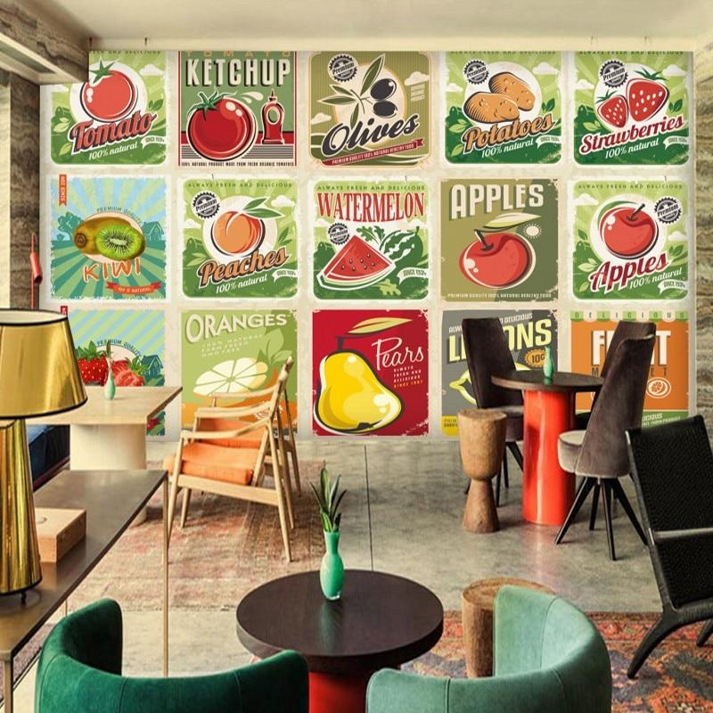 Retro Kitchen Diner: Photo Wallpaper Nostalgic Retro Fruit Vegetable Poster Mural Restaurant Background Wall Kitchen