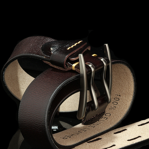 Fashion British Style Double Pin Buckle High Quality Genuine Leather Belt For Men Casual Jeans Waistbands Strap Free Shipping Multan
