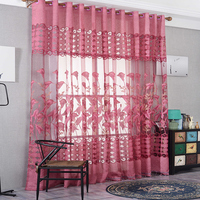 European Style Curtain Tulle Fabrics Modern Jacquard Design Home Decorative Sheer Panel Window Treatment For Living