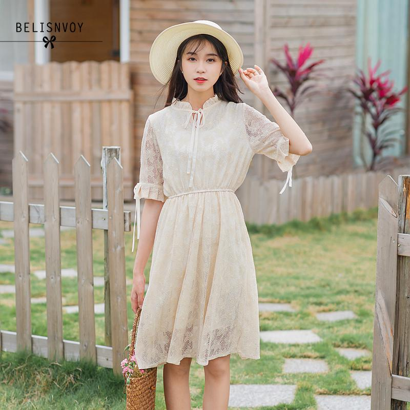 Mori Girl Summer Sweet Dresses Lace Hollow Out Mujer Vestidos Ruffled Half Sleeve White Elegant Women Dress Wedding Party Wear