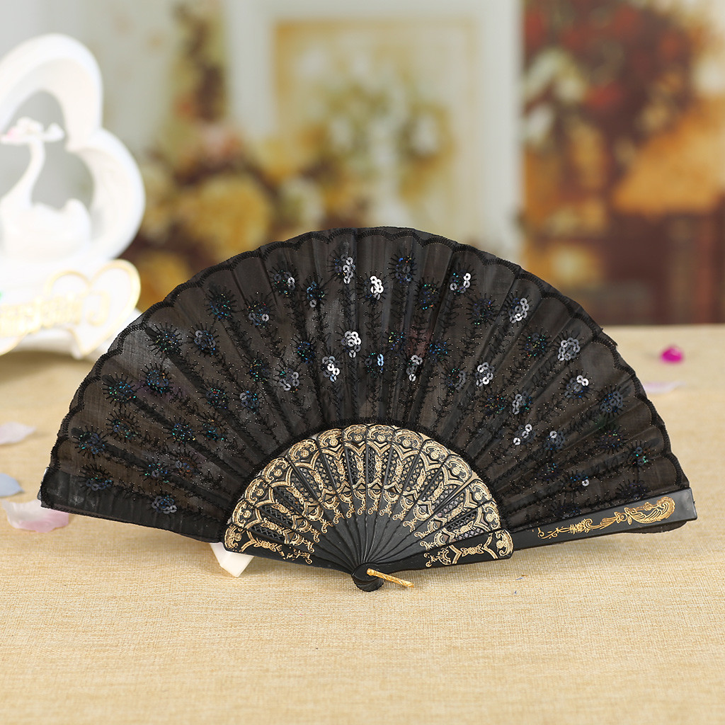 Retro Chinese Fans Dance Folding Sequin Silk Decorative Fans Best Chinese Style Dance Wedding Party Silk Hand Traditional Fan