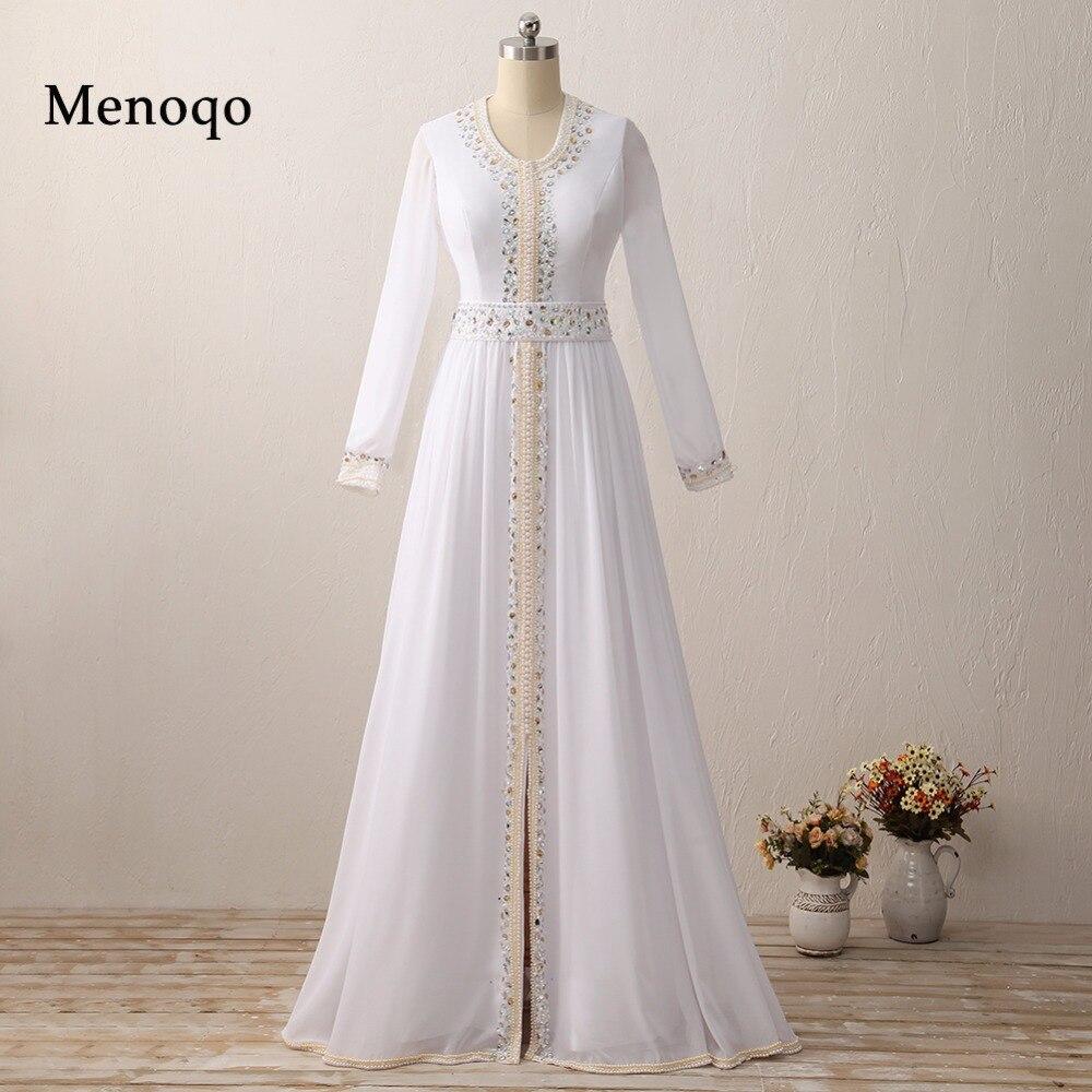 Real Model Vestido De Festa Longo Long Sleeve White Chiffon Beaded Arabic Muslim Evening Dress Dubai Kaftan 2020 Robe De Soiree