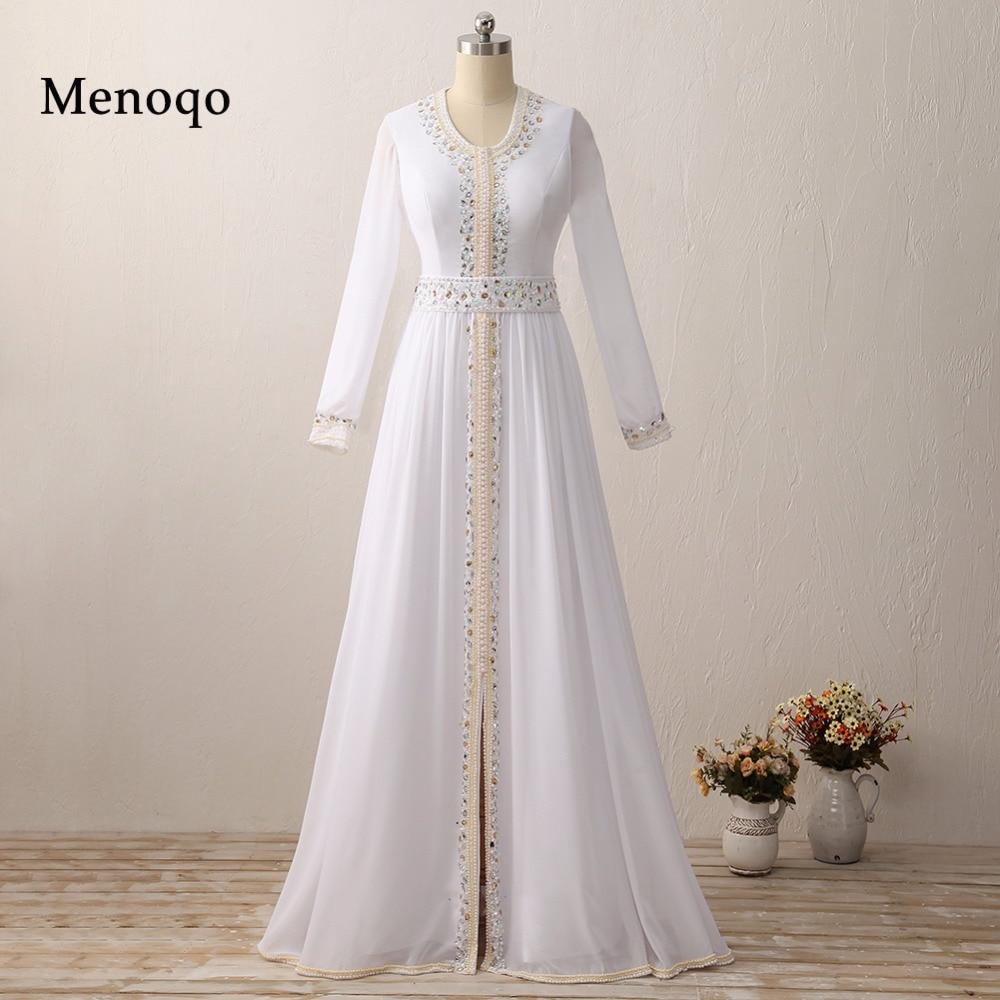 Real Model Vestido De Festa Longo Long Sleeve White Chiffon Beaded Arabic Muslim   Evening     Dress   Dubai Kaftan 2019 Robe De Soiree