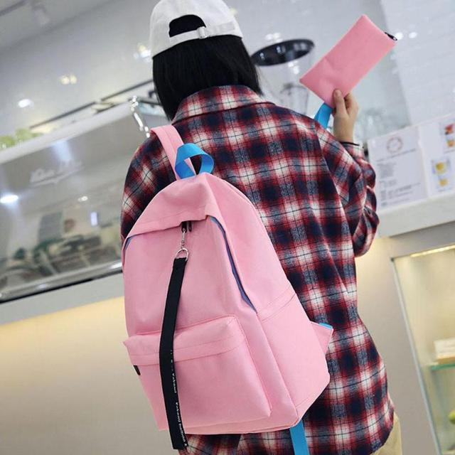 d96e55c464 2pcs set Fashion Teen Backpack Girl Oxford Rucksack Preppy Style Schoolbag  Shoulder Pen Bags Students Casual Oxford Backpack Set