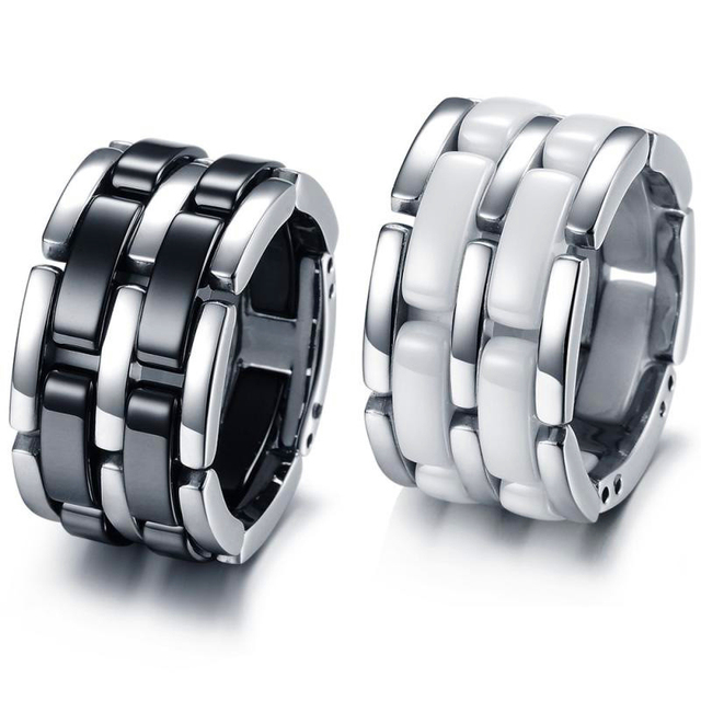Unique Design Black/White Ceramic Chain Ring Fashion Men Women Party Jewelry Gift Wedding Engagement Rings Bijoux Anel R096