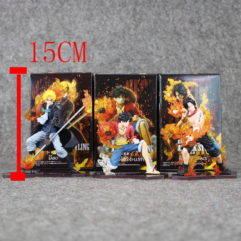 Great 3pcs/Lot Anime One Piece Luffy Ace Sabo 3 brother PVC Figures Collectible Model Kids Toys with Box