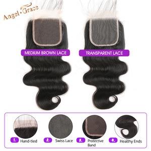 Image 3 - Бразильские волнистые пучки с застежкой, 3 пряди, пупряди волос Remy с застежкой, пупряди человеческих волос Angel Grace с застежкой
