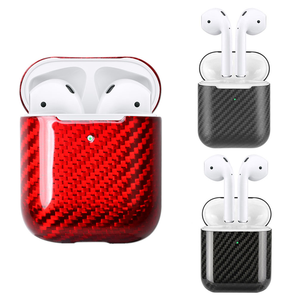 Real Carbon Fiber Case For Apple AirPods 2 Wireless Charging Case Real Carbon Fiber Shockproof LED Cover Earphone Accessories