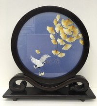 Chinese Table Decoration Small Screen Ornaments Handmade Double-side Embroidery Silk Painting Wenge Stand Crafts Gifts