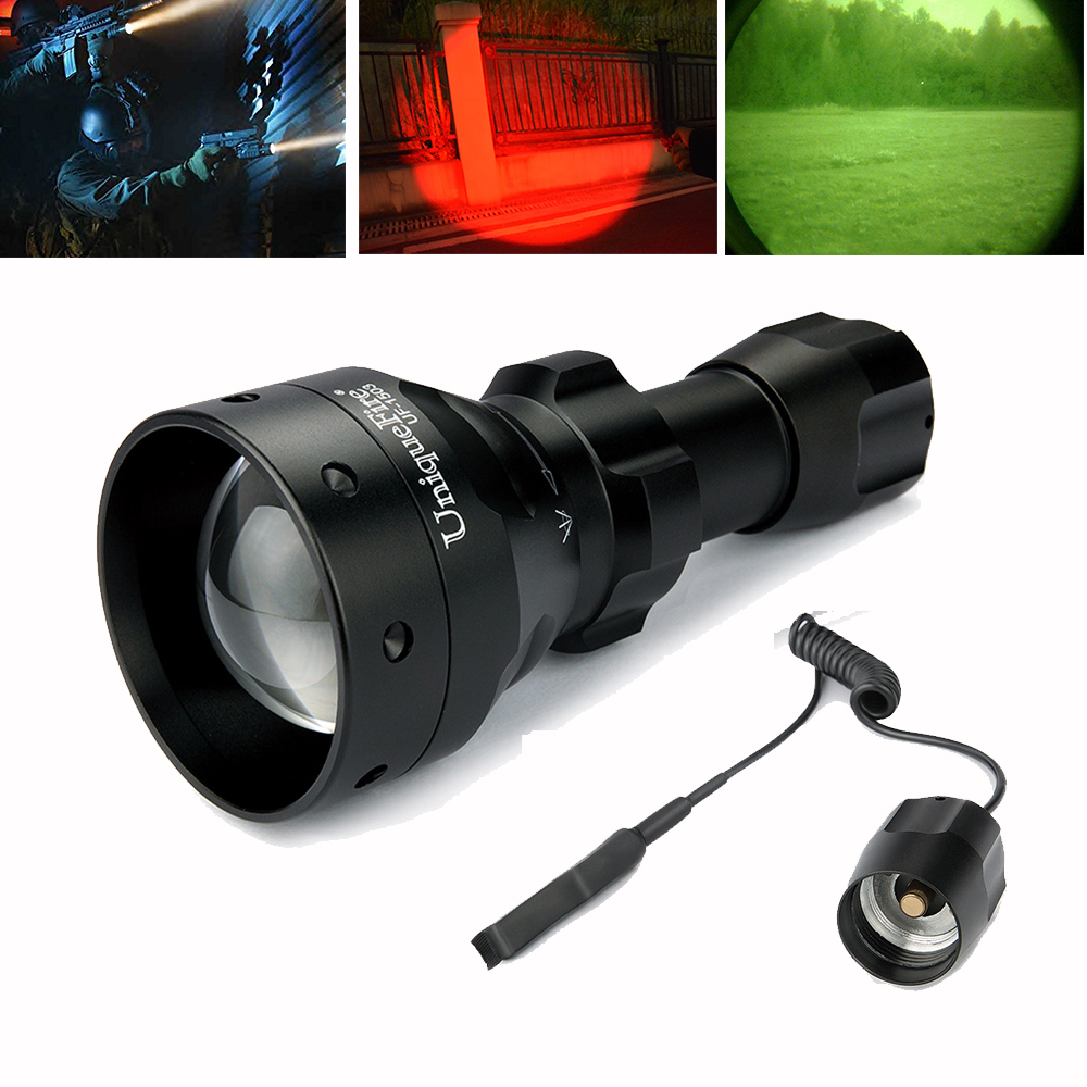 UF-1503 Cree XRE T50 Tactical Flashlight 3 Modes Light Water Resistant, Convex Lens 50mm, Lamp Torch+Remote Pressure Switch uniquefire 1503 led flashlight cree xre green red white light led torch 50mm convex lens 3 mode for camping