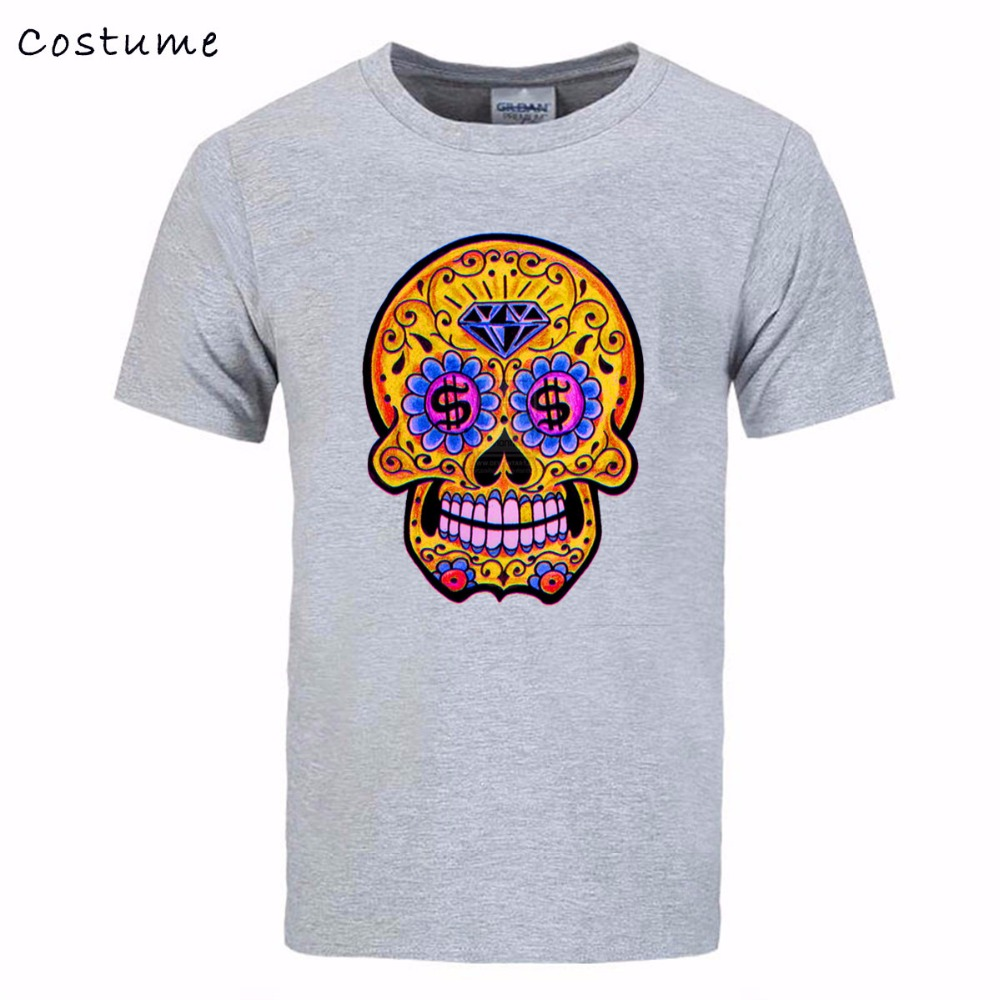 Luxury brand mens 3d t shirt high quality sugar skull for Luxury t shirt printing