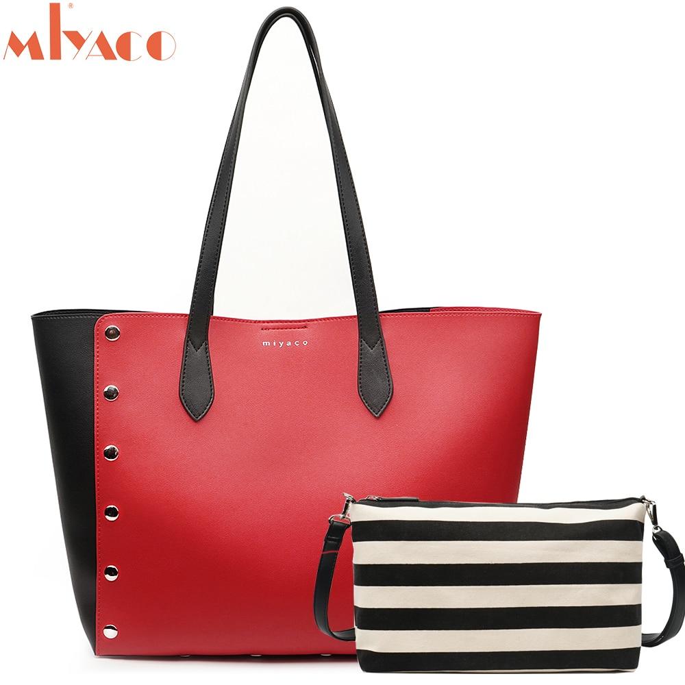 Miyaco Fashion Women Handbag Set Women Shoulder Bags Shopper Bag Purse Leather Tote Bags with inner