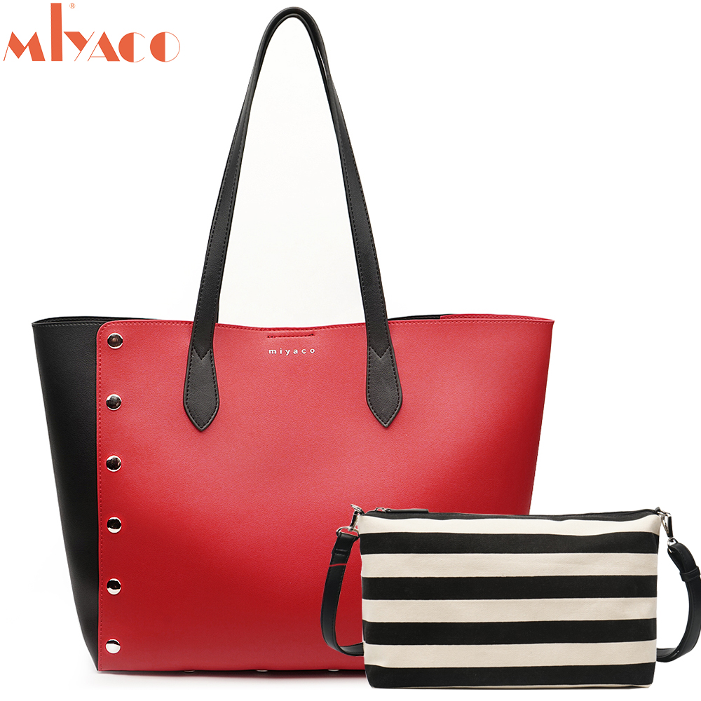 Miyaco mode femmes sac à main ensemble femmes sacs à bandoulière Shopper sac à main en cuir fourre-tout avec toile intérieure Messenger sac