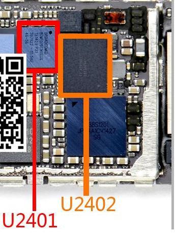 imágenes para 2 par/lote Original nueva pantalla táctil digitalizador blanco + negro chip ic para iphone 6 plus 6 + 6 p 6 plus u2401 bcm5976 + u2402 343S0694