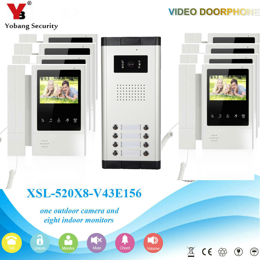YobangSecurity 8 Units Apartment Video Intercom 4.3 Inch Color LCD Video Door Phone Doorbell Intercom IR Camera Monitor System apartment intercom system 7 inch monitor video door intercom doorbell kit 8 units apartment video door phone interphone system