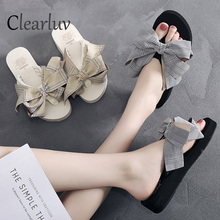 Selling Summer new womens wedge shoes female bow outside 3cm/6cm high heel slippers beach sandals large size 36-42 C0997