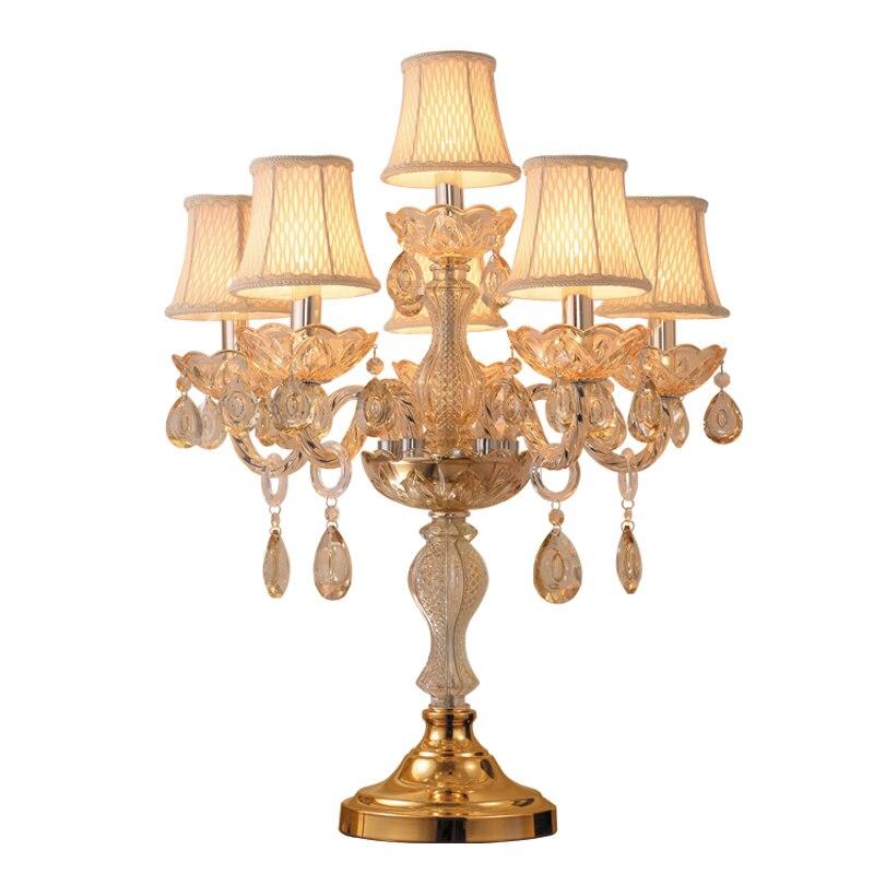Moderne lampe De Chevet lampes de table en cristal pour chambre de luxe lampe de table en cristal américain K9 de luxe lampe de décoration en cristal