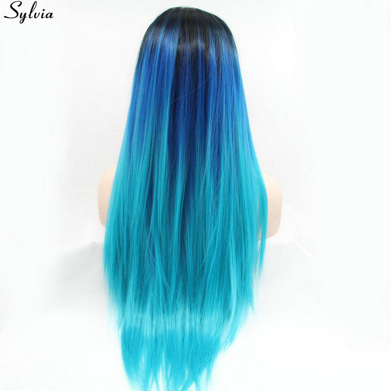 Sylvia Heat Resistant Lush Soft Ombre Black Roots/Blue/Bright Blue Dyed Colored Teal Hairstyles 3 Tone Synthetic Lace Front Wigs