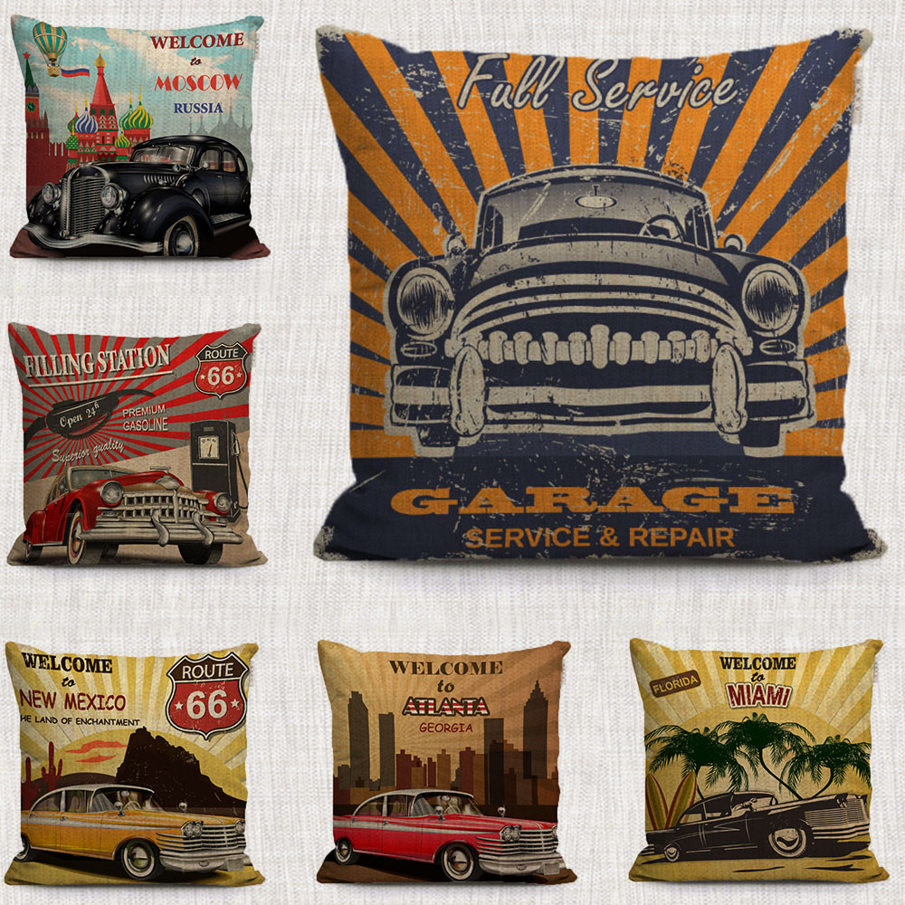 Vintage American Punk Style Car Pillows Cases Covers Taxis Cartoon Car  Chemistry Decorative Pillows Covers Linen For Sofa Cover
