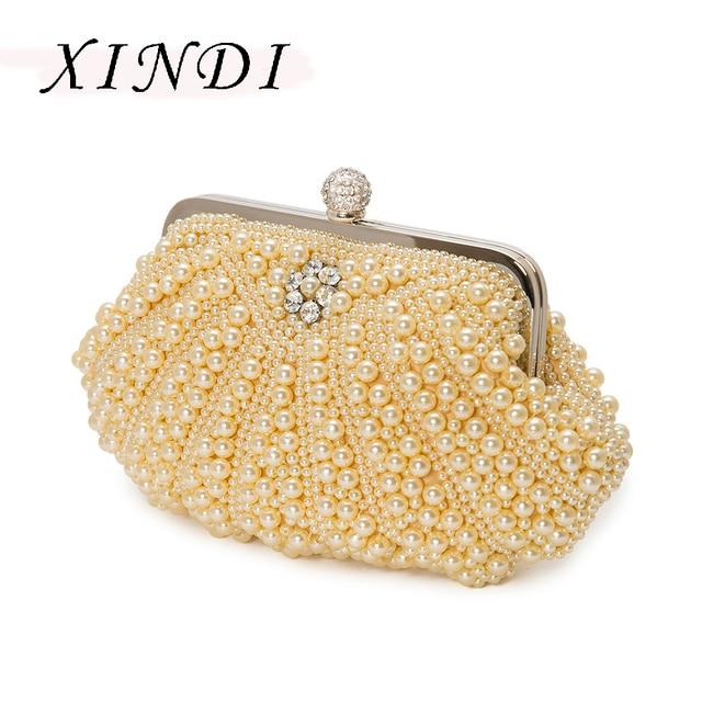 La MaxZa New fashion women clutch evening bags Hasp Diamond Pearl bead  embroidery shell cut Shoulder bag wedding party purse 6bc18f2941e9