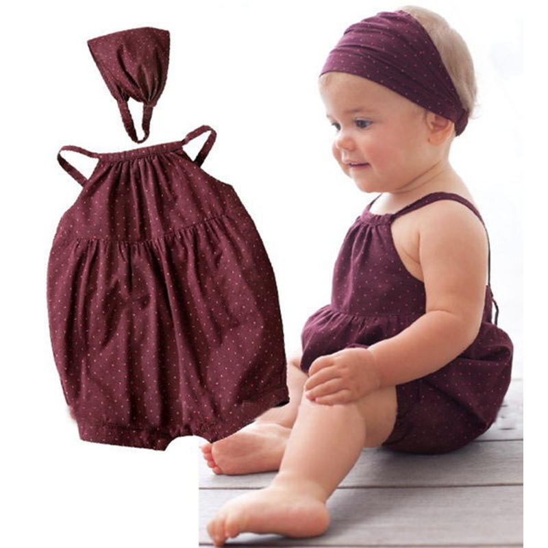 Cute Burgundy Baby Girl Romper + Headbands 2 Piece Set Bebe Jumpsuit Infantil Overall Newborn Infant Clothes Children Clothing cute minnie baby girl romper long sleeve baby clothes roupa infantil macacao ropa bebe jumpsuit baby rompers infant clothing