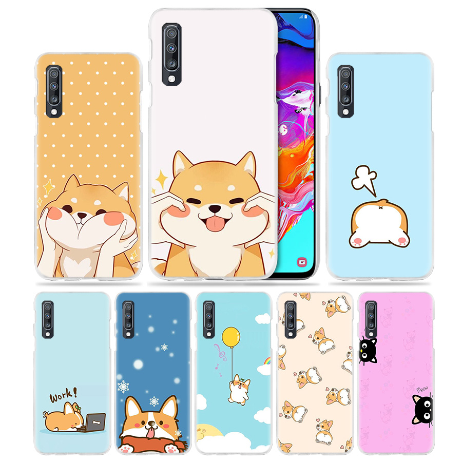 Kawaii <font><b>Case</b></font> for <font><b>Samsung</b></font> <font><b>Galaxy</b></font> A50 A70 A20e A40 A30 A20 A10 A8 A6 Plus A9 A7 2018 Hard Clear PC <font><b>Phone</b></font> Coque Cover Cat Corgi <font><b>Dog</b></font> image