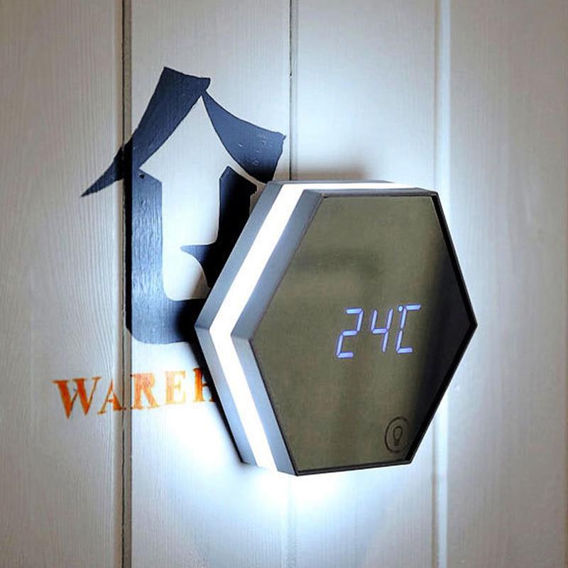 2019 neueste Multifunktions Spiegel Glas Wecker Nacht Lichter Snooze Licht emittierende Thermometer Digitale Wanduhr Helligkeit-in LED-Nachtlichter aus Licht & Beleuchtung bei