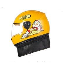 Nuovo cartone animato immagine bambino casco moto inverno bicicletta motocross caschi pieno facciale elettrico con collo scaf