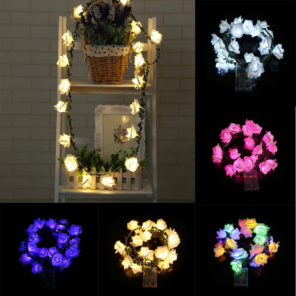 FGHGF 2018 Multi Color 20 LED Cell Box Garden Party Rattan Rose Lantern Skewers Xmas Party Garden Decor Hot Sell Drop Shipping ...