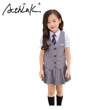 ActhInK 2019 New 3Pcs Girls Formal Grey Vest Suit Teen School Uniform Ceremony Clothing Set Preppy Style