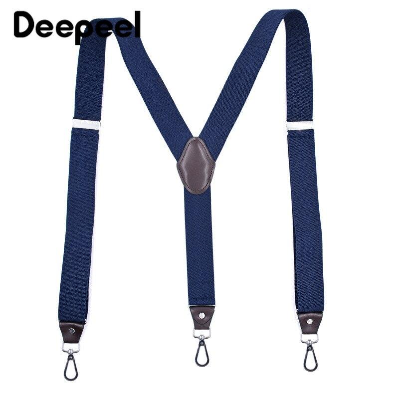 Deepeel 1pc 3.5X120cm Unisex Adult 3 Clip Hook Suspenders Y Type Wild Sanp Buckles Suspenders Suit Trousers Adjustable Strap