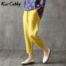 Summer Womens Linen Harem Pants For Women Pant Female Cotton Trousers Plus Size Loose Capris White