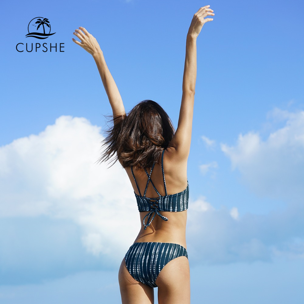 CUPSHE Dream Space Bikini Set Women Lace Up Cross Thong Triangle Bikini Swimwear 2020 Beach Bathing Suit Swimsuit 5