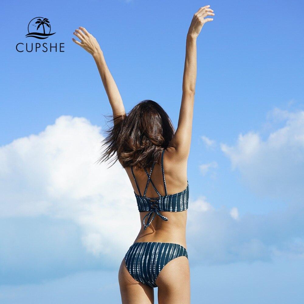 CUPSHE Dream Space Bikini Set Women Lace Up Cross Thong Triangle Bikini Swimwear 2020 Beach Bathing Suit Swimsuit 5