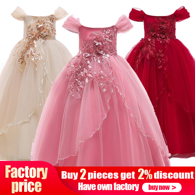 High quality Ladies dress flower girl dresses for wedding girls dress first communion princess beading dress baby tutu costume Платье