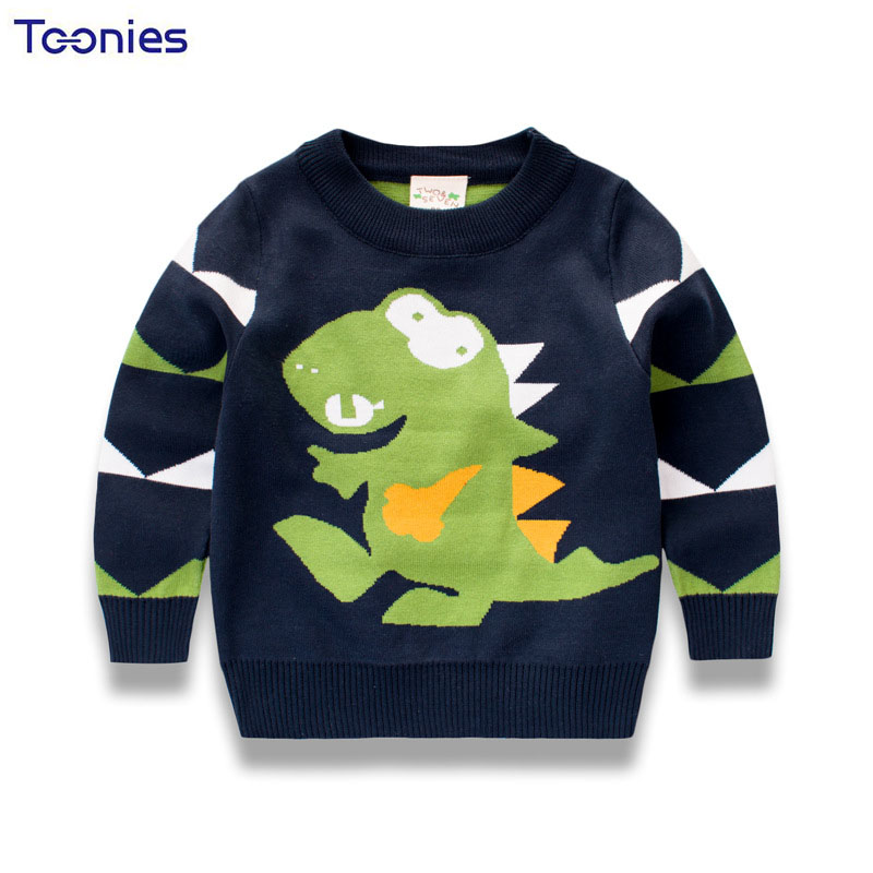 Cartoon Casual Sleeve Warm Cotton Kids Pullover Sweater Winter Long Boys Tops