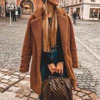 Женская мода 2019, зимняя замшевая длинная верхняя одежда, женская модная карамельная куртка из искусственного меха, Mujer, шикарное длинное ули...