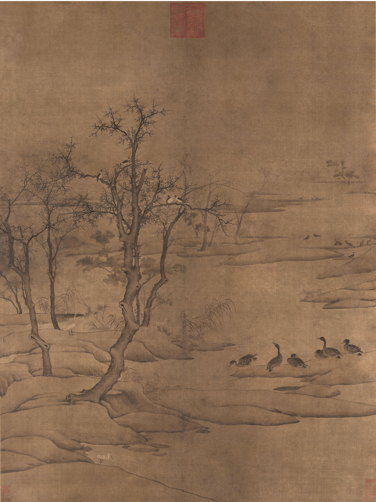 traditional Chinese painting landscape picture scenery posters prints art Duckling geese near the river in winter Song Dynasty