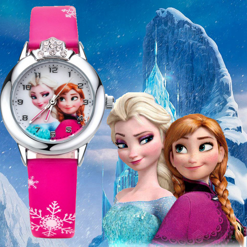 fashion kids children girls 3D cartoon snow Queen Princess Watch students sister lovely dress gift party quartz wrist watches