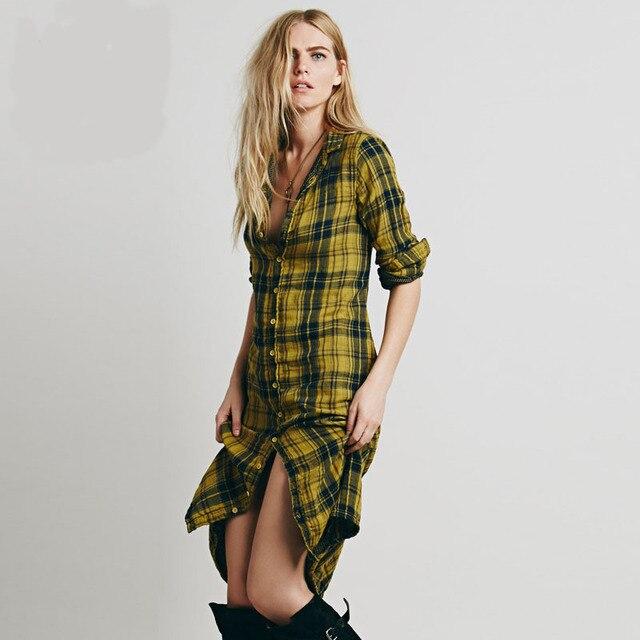 Fashion Women Winter Fall Dresses 2015 Female Plaid Pattern Long