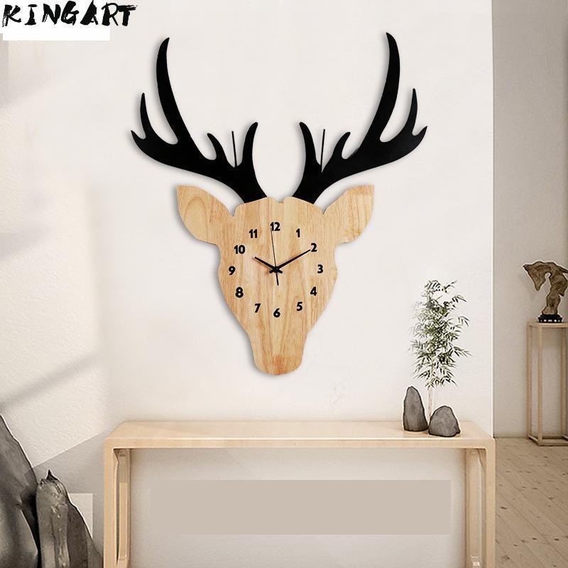 Grande horloge murale silencieuse Design moderne Cool Rural en bois cerf tête horloge décoration murale pour salon chambre