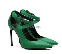 Pointed Toe Thin High Heel Shoes Green Red Leather Buckle Strap Stiletto Heel Pumps Cross Tied Concise Women Shoes