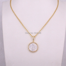 5 strands zyunz母の真珠シェルペンダントネックレスジュエリー女性ゴールドカラーチェーンネックレス