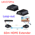 Wall Mountable 60m HDMI Extender Over CAT6 With IR And HDMI Loop Out LKV372pro Sender Receiver HDCP 196ft Over Cat6/Cat7