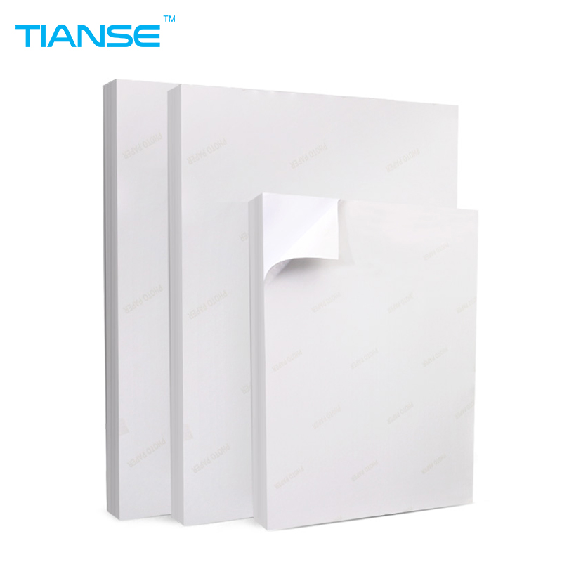 TIANSE A4 A5 high glossy photo paper with adhesive on backside A4 50 sheets/pack luminous photo sticker A5 100 sheets/pack
