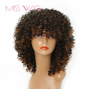 Image 1 - MISS WIG perruque synthétique Afro longue et bouclée et crépue de 18 pouces, perruque américaine mixte Blonde et brune 280g pour femmes noires