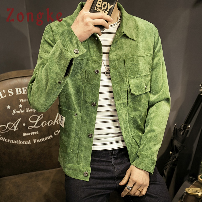 Zongke 2019 New Autumn Corduroy Casual Jacket Men Coat Fashion Brand Slim Fit Bomber Jacket Male Windbreaker Men Coats M-5XL